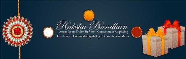 Raksha bandhan feierfahne mit kristallrakhi