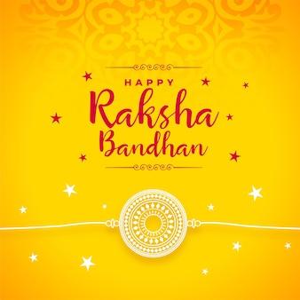Raksha bandhan gelbes dekoratives kartendesign