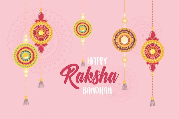 Raksha bandhan, hängende armbänder der indischen brüder und schwestern der liebespartei