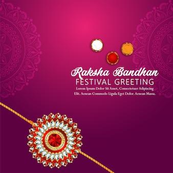Raksha bandhan indischer festivalfeierhintergrund mit goldenem kristallrakhi