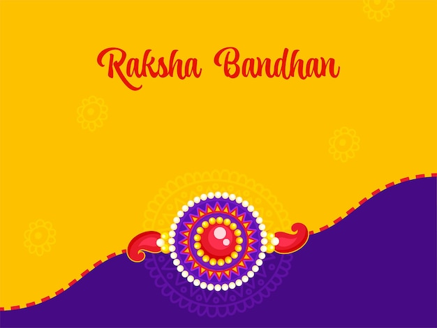 Raksha bandhan-konzept mit schönem perlen-rakhi auf gelbem und purpurrotem hintergrund.