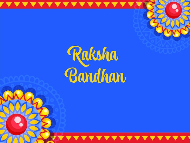 Raksha bandhan schriftart mit blumen verziert auf blauem und rotem hintergrund.