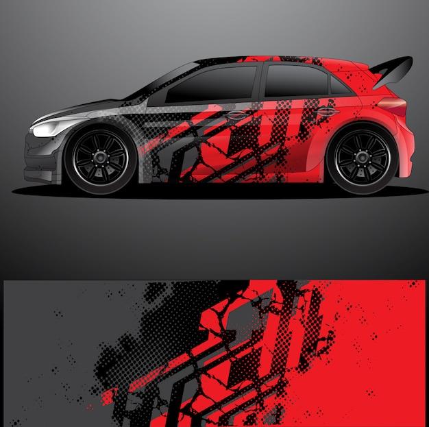 Rallye auto aufkleber grafik wrap vektor, abstrakter hintergrund Premium Vektoren