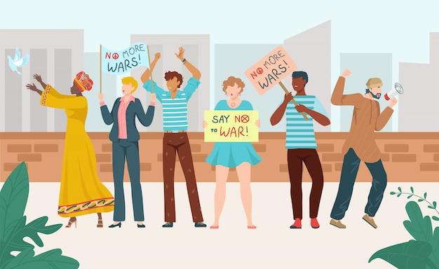 Rallye protest menschen drängen sich mit plakaten, politischer demonstration, gruppe von multinationalen demonstranten flache illustration.