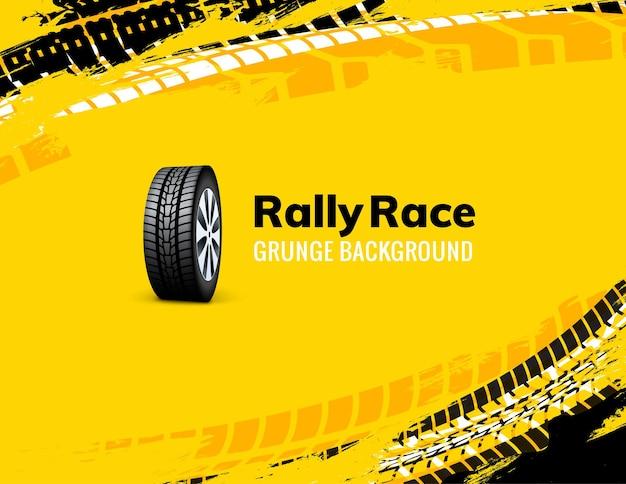 Rallye-rennen grunge-reifen-schmutz-auto-hintergrund. offroad-rad-lkw-fahrzeug-vektor-illustration.
