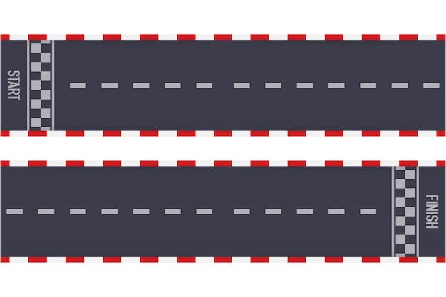 Rallye rennen strecke oder straßenmarkierung. auto- oder kartstraßenrennen. illustration.