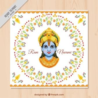 Ram navami aquarell ornamental grußkarte