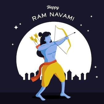 Ram navami banner mit bogenschütze