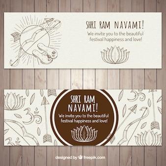 Ram navami banner mit pfeilen und bögen