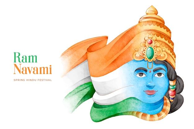 Ram navami festival und abstrakte indische flagge