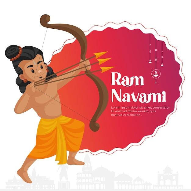 Ram navami grüße mit illustration von lord rama