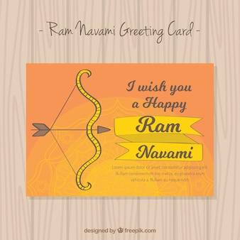 Ram navami grußkarte mit einer hand gezeichneten bogen