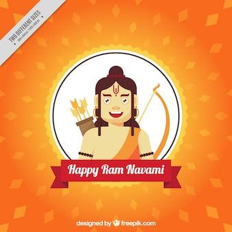 Ram navami hintergrund mit geometrischen formen in flacher bauform