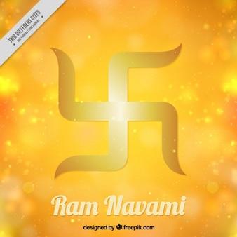 Ram navami symbol auf einer gelben hellen hintergrund