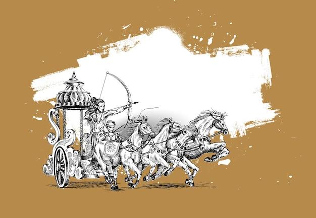 Rama mit rath töten ravana im happy dussehra hintergrund