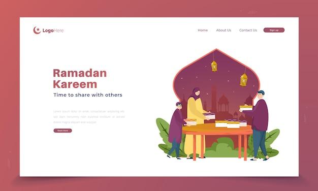 Ramadan-aktivität zum teilen mit anderen illustrationen Premium Vektoren