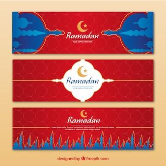 Ramadan banner sammlung mit flachen moscheen