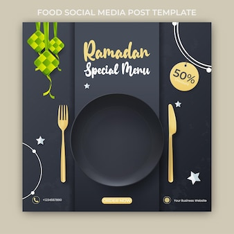 Ramadan bannerwerbung. ramadan social media post vorlage