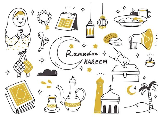 Ramadan doodle set illustration