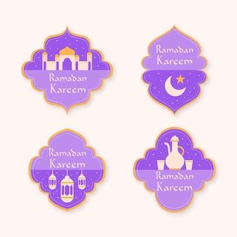 Ramadan-etikettensammlung mit flachem design
