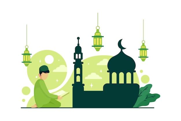 Ramadan-feier mit flacher artillustration