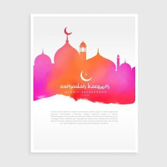 Ramadan flyer mit moschee in bunten aquarell tinte stil