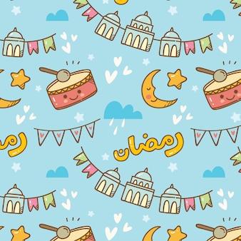 Ramadan gekritzel nahtlose muster