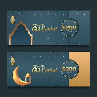 Ramadan geschenkgutschein mit goldenem stil