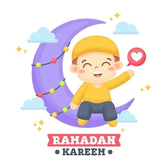 Ramadan-gruß-karte mit niedlicher jungen-illustration