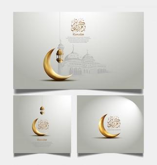 Ramadan-grußkarte mit goldenem halbmond und laterne