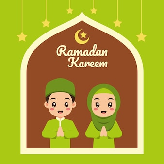 Ramadan-grußkarte mit niedlichen muslimischen karikaturkindern