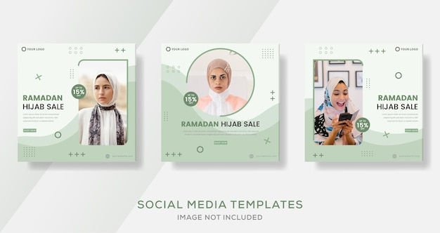 Ramadan hijab verkaufsbanner für business fashion template post
