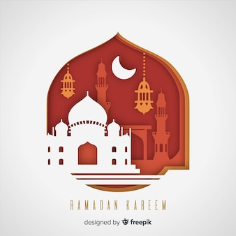 Ramadan hintergrund im papierstil