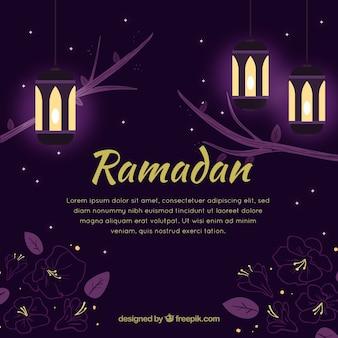 Ramadan-hintergrund mit belichteter nacht