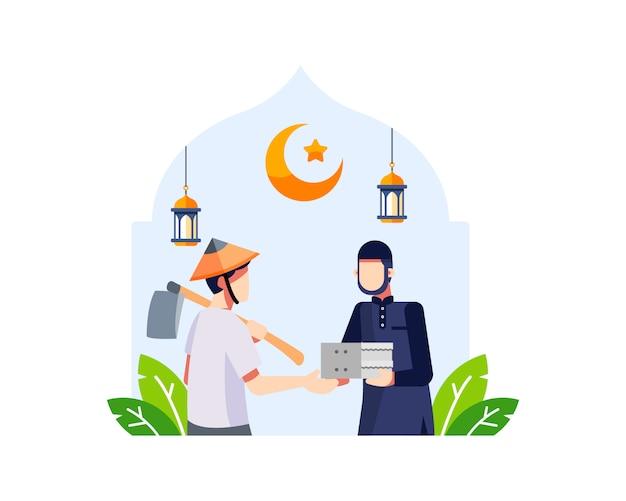 Ramadan hintergrund mit einem jungen muslimischen mann gibt essen zu einem landwirt illustration