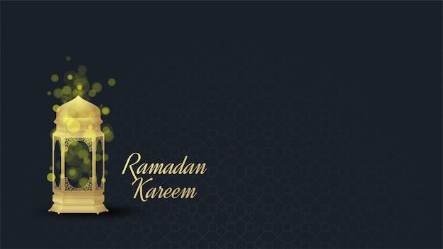 Ramadan hintergrund mit illustrationen von goldenen lichtern mit bokeh-effekten.