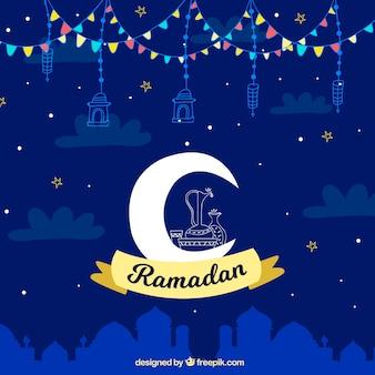 Ramadan-hintergrund mit mond und himmel