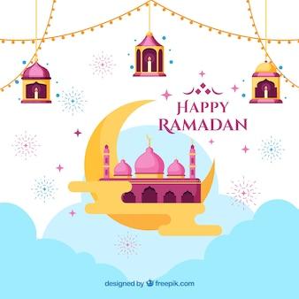 Ramadan-hintergrund mit moschee auf mondform