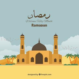 Ramadan-hintergrund mit moschee in der flachen art