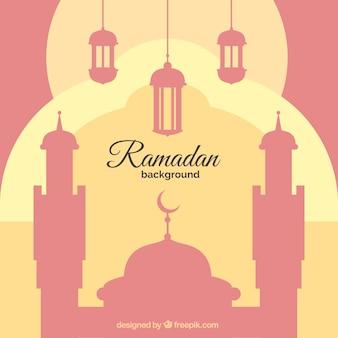 Ramadan hintergrund mit moschee und laternen