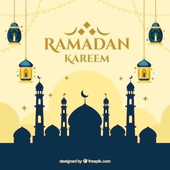 Ramadan-hintergrund mit moscheenschattenbild in der flachen art
