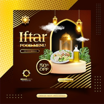 Ramadan iftar food menü social media post Premium Vektoren