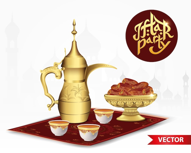 Ramadan iftar party essen mit klassischer arabischer teekanne und tasse, schüssel datteln isoliert