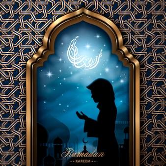 Ramadan-illustration und arabische kalligraphie mit betendem mädchen Premium Vektoren