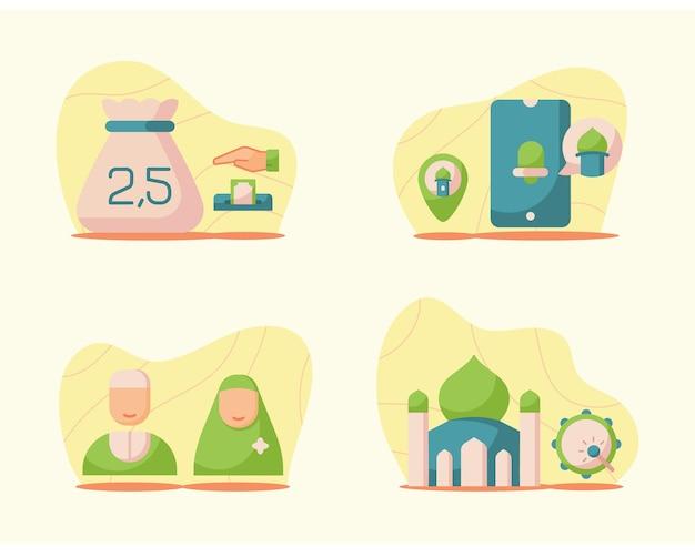 Ramadan-illustrationen im modernen flachen stil Premium Vektoren