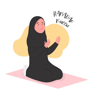 Ramadan kareem arabian woman praying