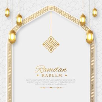 Ramadan kareem arabisch eleganter luxuriöser dekorativer islamischer hintergrund mit islamischem musterrand und dekorativem ornament
