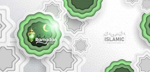 Ramadan kareem background in papierkunst oder in papier geschnittener art vektor