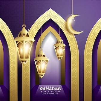 Ramadan kareem background mit fanoos laterne