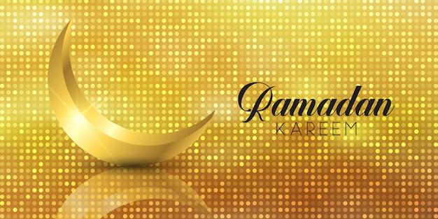Ramadan kareem banner mit goldenem halbmond